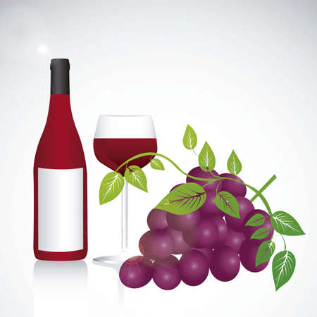 botle: Illustration of purple grape fruit with leaves, ilustration of wine fruit, vector illustration