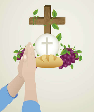 son in law: Illustration of Jesus Christ, Eucharist and the sacrament of communion, vector illustration