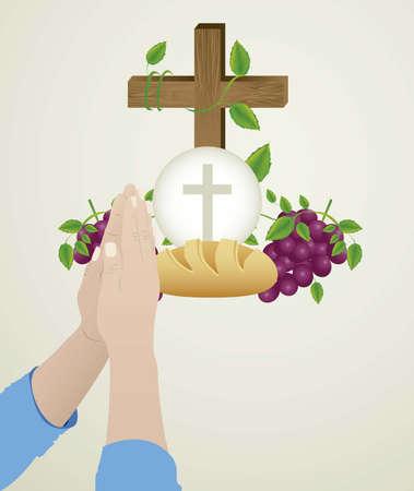pane e vino: Illustrazione di Ges� Cristo, l'Eucaristia e il sacramento della comunione, illustrazione vettoriale