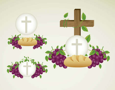 bread and wine: Illustration of Jesus Christ, Eucharist and the sacrament of communion, vector illustration