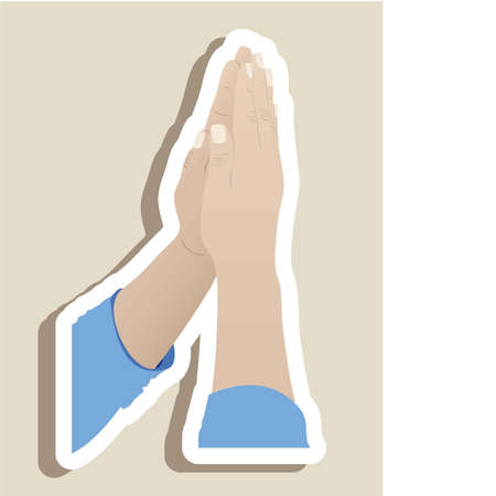 Illustration religious person prayer to God, vector illustration Vector