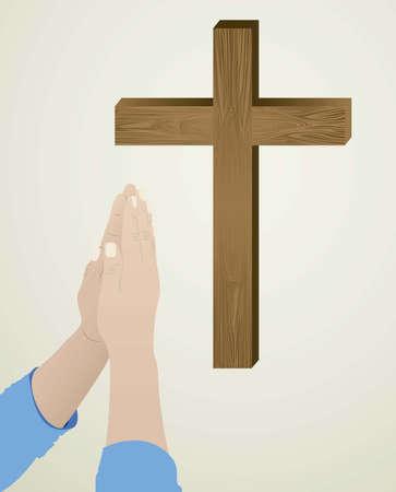 Ilustraci�n religiosa persona arrodillada en oraci�n a Dios, ilustraci�n vectorial