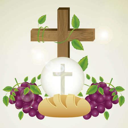 sacramentale: Illustrazione di Ges� Cristo, l'Eucaristia e il sacramento della comunione, illustrazione vettoriale