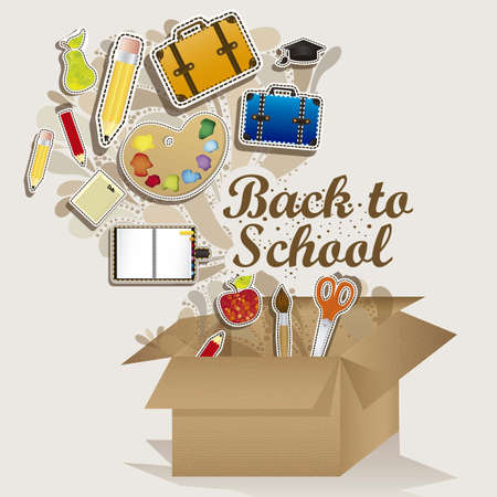 secondary schools: Illustration of back to school, school supplies, vector illustration Illustration