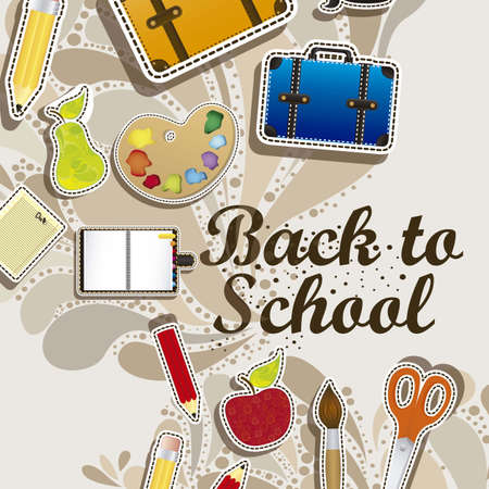 Ilustración de volver a la escuela, útiles escolares, ilustración vectorial