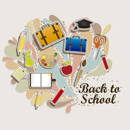 primary: Illustration of back to school, school supplies, vector illustration Illustration