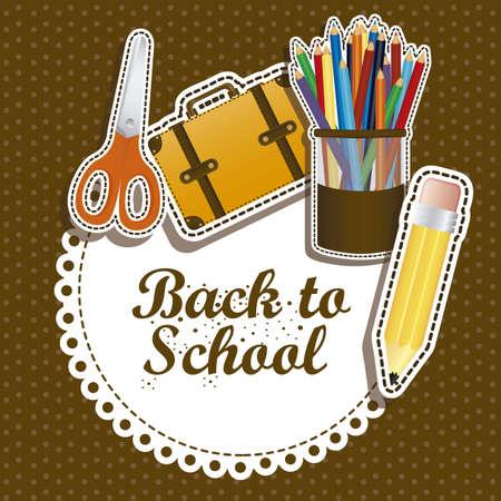 calendario escolar: Ilustraci�n de volver a la escuela, �tiles escolares, ilustraci�n vectorial