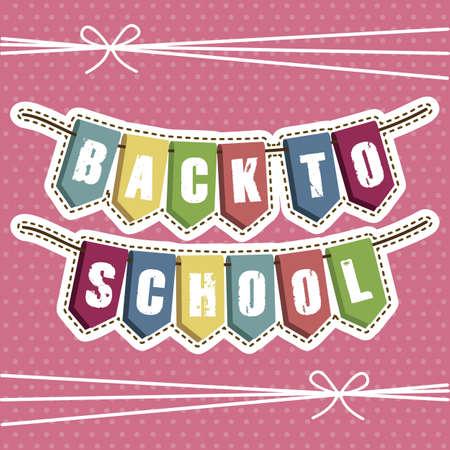 festones: Ilustraci�n de volver a la escuela, �tiles escolares, ilustraci�n vectorial