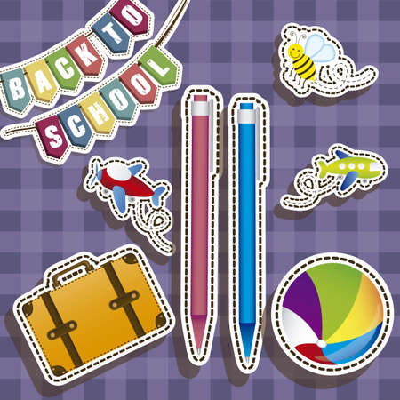 Illustration of back to school, school supplies, vector illustration Stock Vector - 18651438