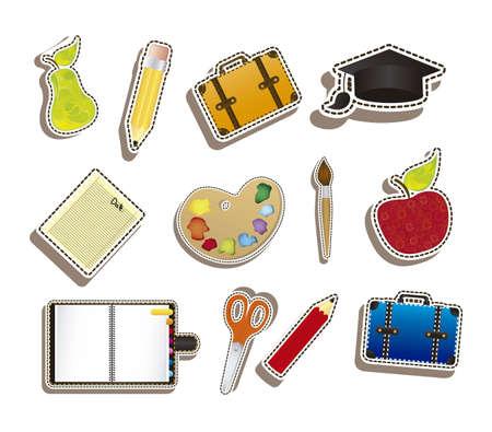 Illustration of back to school, school supplies, vector illustration Illustration
