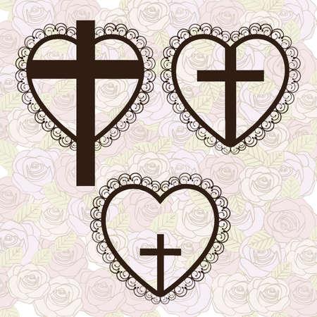 cruz de madera: Ilustracion religiosa, cruz de nuestro Se�or Jesucristo con el matrimonio, ilustraci�n vectorial