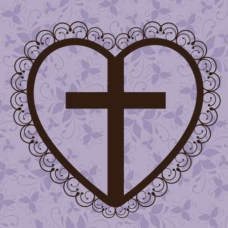Religious Illustration, Cross of Our Lord Jesus Christ with marriage, vector illustration Vector
