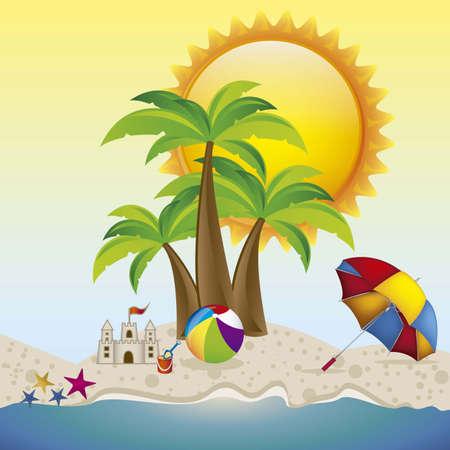 summer vacation: Illustration of beach. summer vacation on the beach, vector illustration Illustration