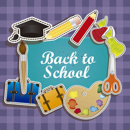 primary colours: Illustration of back to school, school supplies, vector illustration Illustration