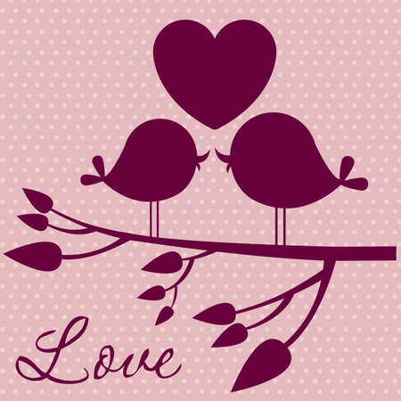 love tree: Illustration of couple in love,  birds in love, vector illustration