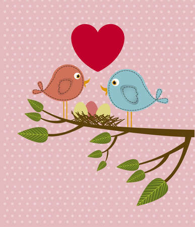 Illustration of couple in love,  birds in love, vector illustration Vector
