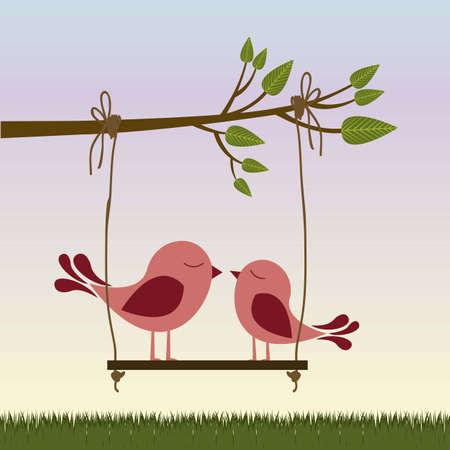 boom met vogels: Illustratie van paar in liefde, vogels in de liefde, vector illustratie