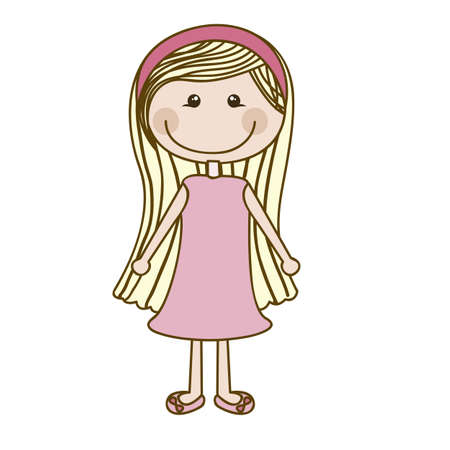 Illustration of girl, in cartoon style and sketch, vector illustration Vector
