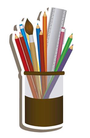 pencil case: Illustration of pencil case, school supplies