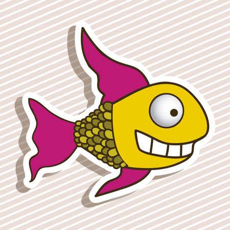illustration of icons of fish, aquatic animals Stock Vector - 18759880