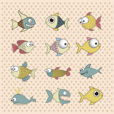illustration of icons of fish, aquatic animals Stock Vector - 18760001