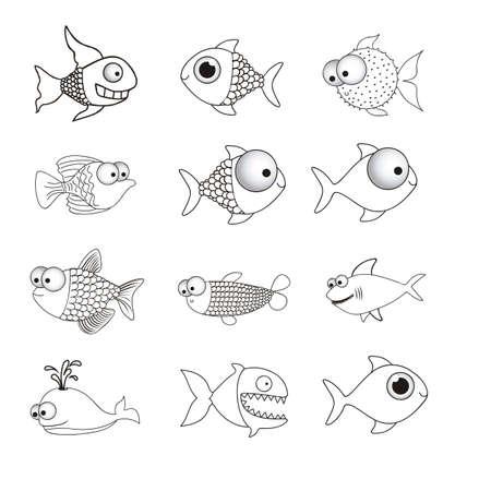 illustration of icons of fish, aquatic animals Stock Vector - 18759999