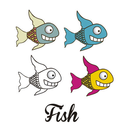 illustration of icons of fish, aquatic animals Stock Vector - 18760010
