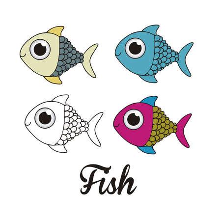 illustration of icons of fish, aquatic animals Stock Vector - 18759954