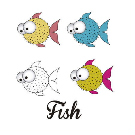 illustration of icons of fish, aquatic animals Stock Vector - 18760008