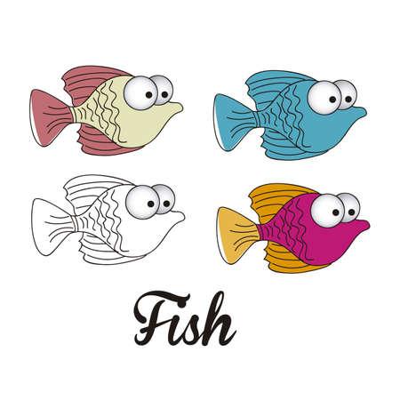 illustration of icons of fish, aquatic animals  Stock Vector - 18759943