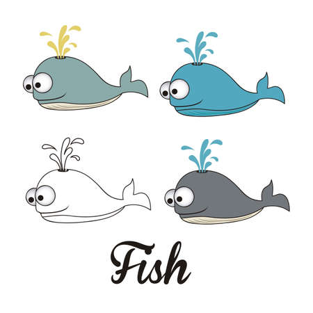 illustration of icons of fish, aquatic animals  Stock Vector - 18759959