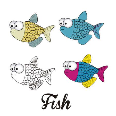 illustration of icons of fish, aquatic animals  Stock Vector - 18759957