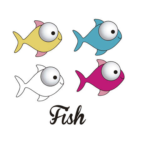 illustration of icons of fish, aquatic animals  Vector