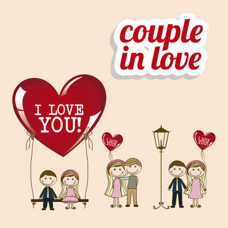 couple dating: Illustration of couple in love, dating