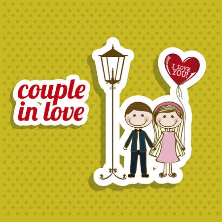 couple dating: Illustration of couple in love, dating    Illustration