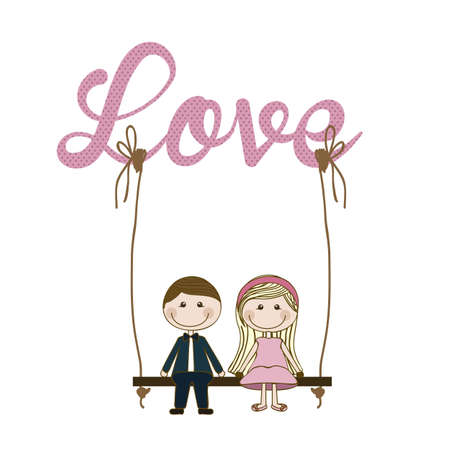 Illustration of couple in love, dating