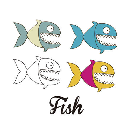 Illustration of piranha fish in different graphic styles, vector illustration Vector