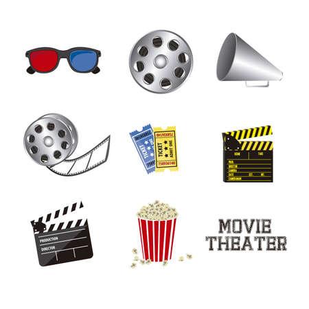 Illustration of icon of cinema, 3D cinema glasses,  director slate, popcorn, tickets, and Film reel, vector illustration Stock Vector - 18954300
