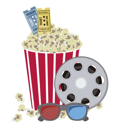 Illustration of film icon, movie popcorn with film reel and 3D Glases, vector illustration Vector