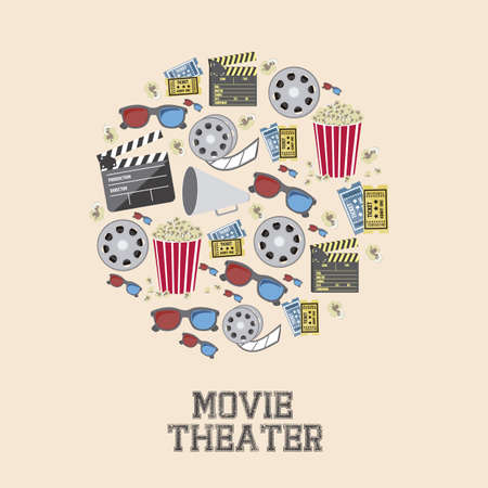 Illustration of icon of cinema, 3D cinema glasses,  director slate, popcorn, tickets, and Film reel, vector illustration  Stock Vector - 18954288