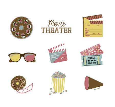 Illustration of icon of cinema, 3D cinema glasses,  director slate, popcorn, tickets, and Film reel, vector illustration Stock Vector - 18954265