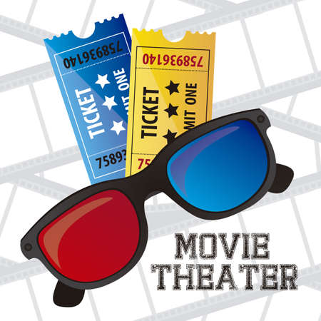 3 d glasses: Illustration of icon of cinema, 3D cinema glasses and tiquets, vector illustration