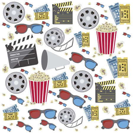 cinema strip: Illustration of icon of cinema, 3D cinema glasses,  director slate, popcorn, tickets, and Film reel, vector illustration