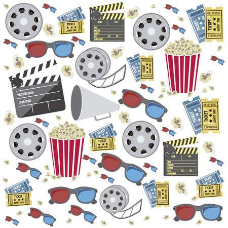Illustration of icon of cinema, 3D cinema glasses, director slate, popcorn, tickets, and Film reel, vector illustration