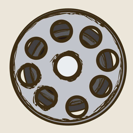 Illustration of icon of cinema, film reel, vector illustration  Stock Vector - 18954205