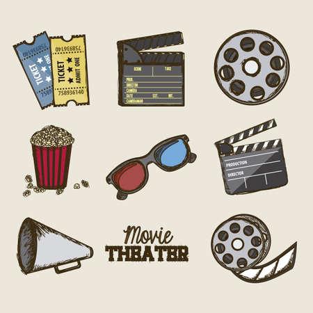 Illustration of icon of cinema, 3D cinema glasses,  director slate, popcorn, tickets, and Film reel, vector illustration Stock Vector - 18954298
