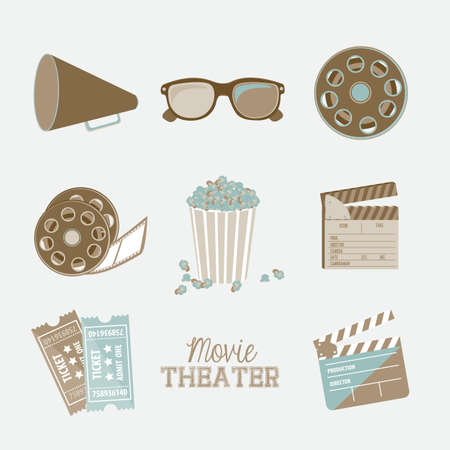 Illustration of icon of cinema, 3D cinema glasses,  director slate, popcorn, tickets, and Film reel, vector illustration Stock Vector - 18954263