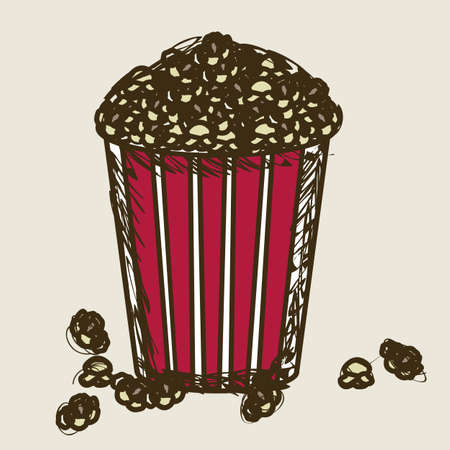 Illustration of film icon, movie popcorn, vector illustration Vector