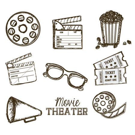 cinema scherm: Afbeelding van pictogram van de cinema, 3D-cinema brillen, directeur leisteen, popcorn, tickets, en de film reel, vectorillustratie Stock Illustratie