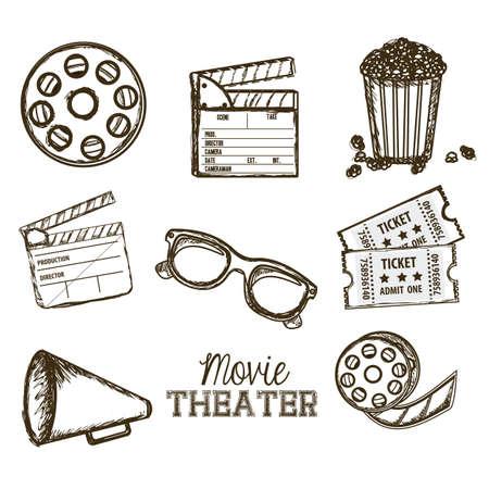 シネマ、3 D シネマ メガネ、ディレクター スレート、ポップコーン、チケット、およびフィルムのリールのベクトル図のアイコンの図